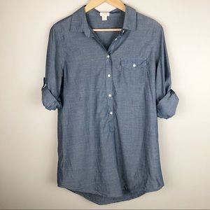 J. Crew Chambray Tunic with Swiss Tabs